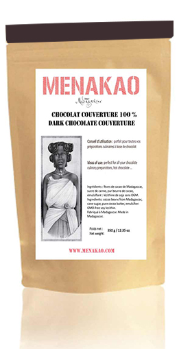 Menakao 100% Dark Chocolate Couverture - 340g bag