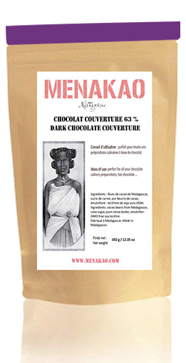 Menakao 63% Dark Chocolate Couverture - 340g