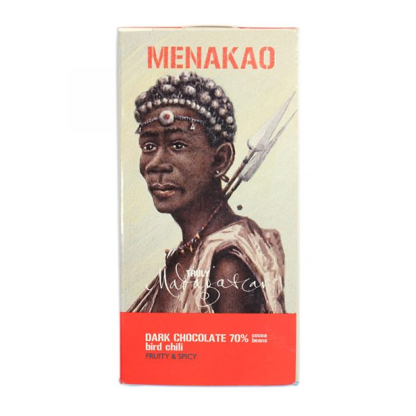 Menakao 70% Dark Chocolate with Bird Chilli (Taster Bar) (Carton of 24)