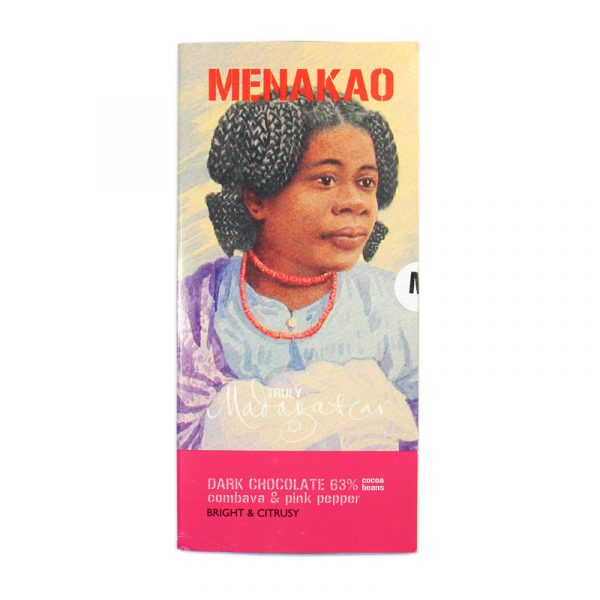 Menakao 63% Dark Chocolate With Combava & Pink Pepper (taster bar)