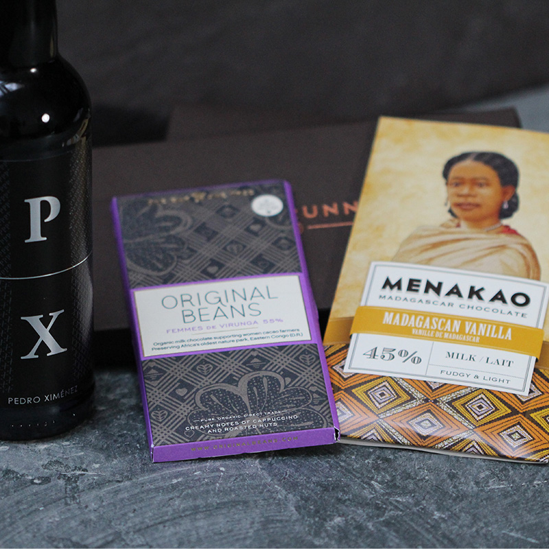 Chocolate & Wine Gift: Pedro Ximnez Sherry & Milk Chocolate