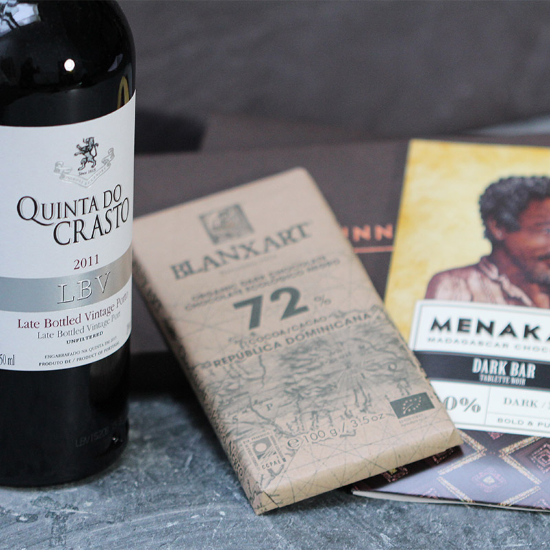Chocolate & Wine Gift: Port and Dark Chocolate