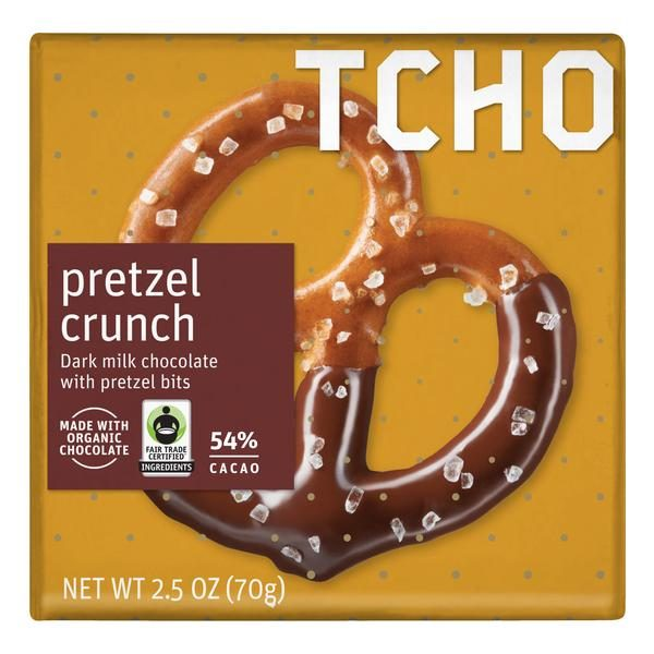 TCHO - 54% Dark Milk Chocolate with Pretzel Crunch